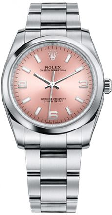 114200  ROLEX AIR-KING OYSTER PERPETUAL COSMOGRAPH WOMENS LUXURY WATCH IN STOCK - Luxury Sales Event on All Rolex Watches   - FREE Overnight Shipping | Lowest Price Guaranteed     - NO SALES TAX (Outside California) - WITH MANUFACTURER SERIAL NUMBERS- Pink Arabic Dial -   Self Winding Automatic Movement- 6 Year Warranty- Guaranteed Authentic - Certificate of Authenticity- Manufacturer Box