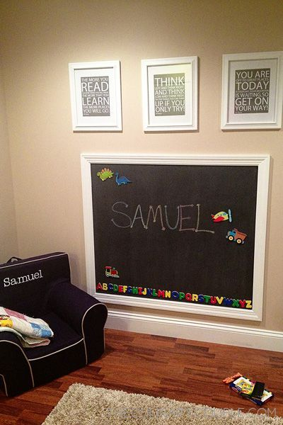 Magnetic chalkboard for Ava's playroom