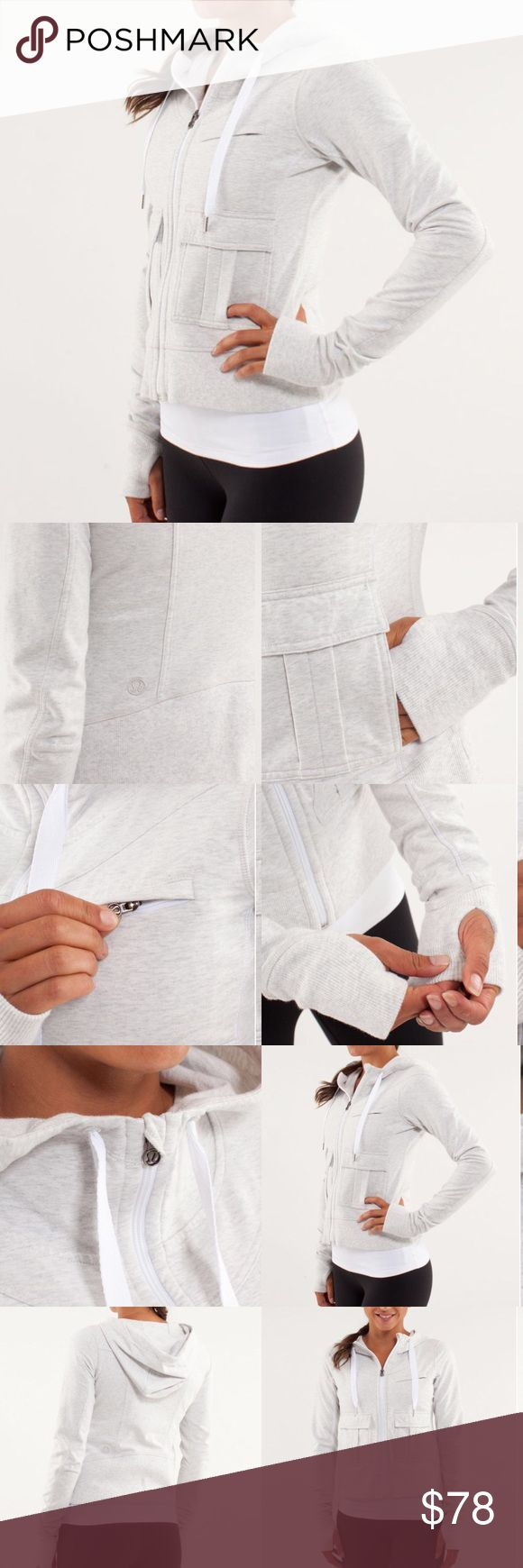 """Lululemon • Carry & Go Hoodie Zip Jacket Excellent condition. Heathered white. Pockets at front. Full zip.   •No Trades  •Offers Welcomed  •Add any item/s to a bundle using the """"add to bundle feature"""" to receive a private discount 🌵✨ lululemon athletica Tops Sweatshirts & Hoodies"""