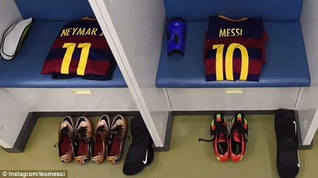 The first picture in Messi's video shows the players' shirts lying together in the dressing room