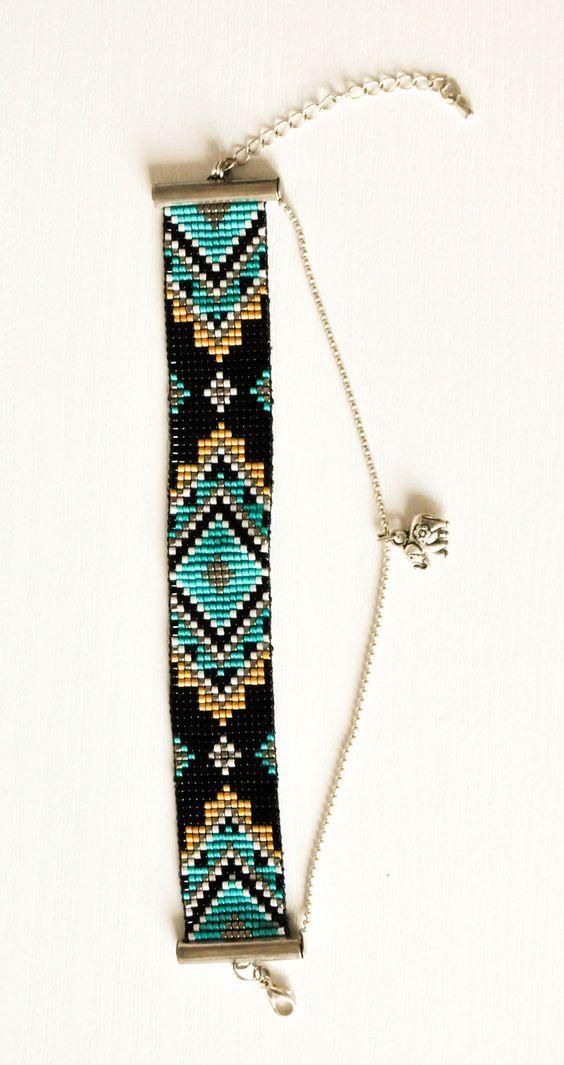 Bracelet Manchette en perles Miyuki tissées et chaîne à billes avec éléphant - noir vert ocre