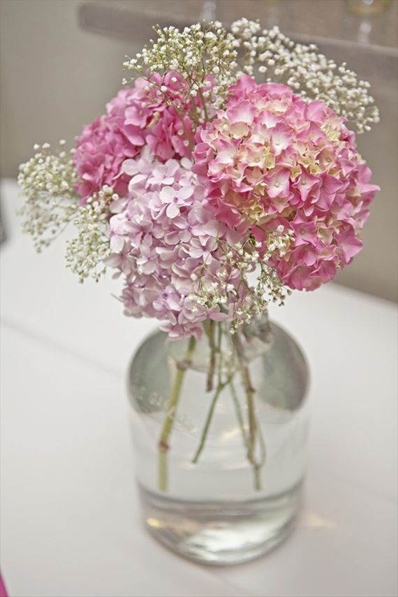 pink hydrangeas and baby's breath in glass vase - photo by Shillawna Ruffner Photography