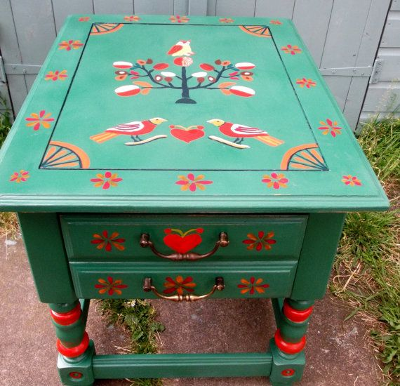 Bespoke green coffee table with hand painted by Furniturefruit