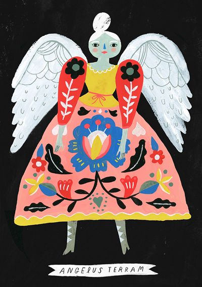 Earth Angel print by Sarah Walsh Tiger Sheep Etsy shop