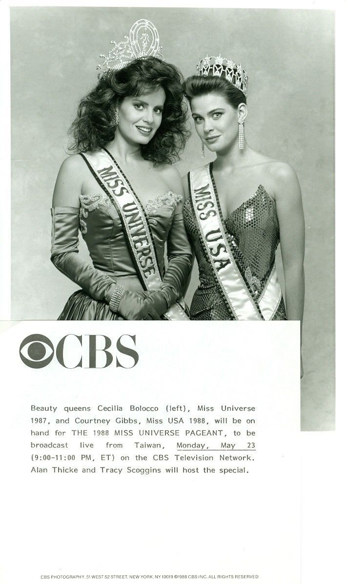 1988 CBS Miss Universe Pageant Ad featuring Miss Universe 1987 Cecilia Bolocco (Chile) and Miss USA 1988 Courtney Gibbs (Texas)