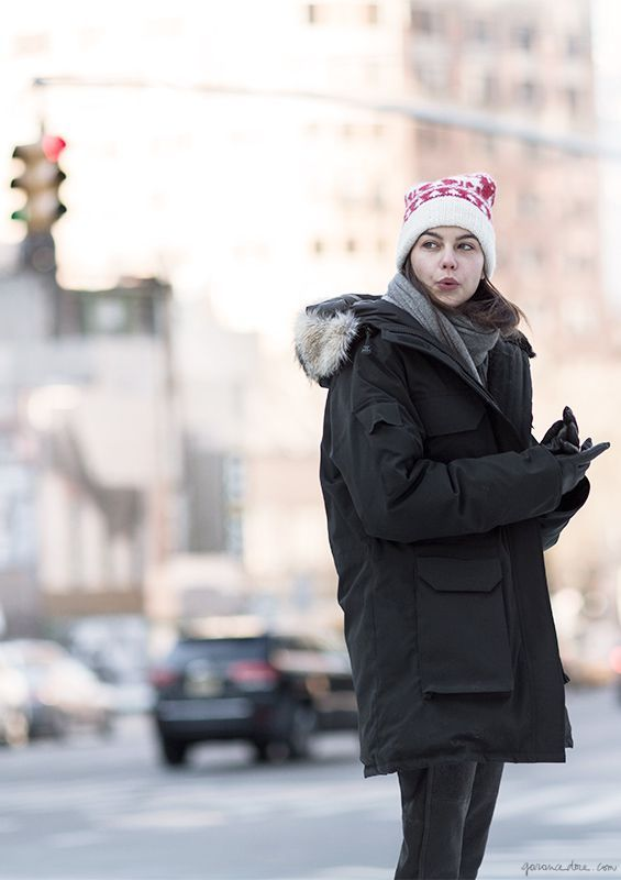 Parkas, Black Parka, Canada Goose; Sweater, Isabel Marant; Leather Pant, Isabel Marant; Boots, Alexander Wang; Beanie, Eugenia Kim; Scarf, Equipment / Garance Doré