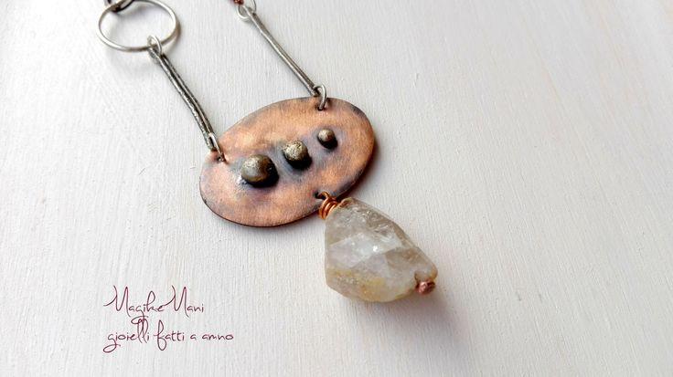 Collana con ciondolo in rame e argento e quarzo di MagikeMani su Etsy