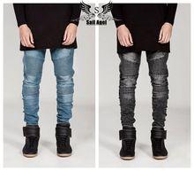 Mens Skinny jeans homens 2016 Runway afligido calça jeans elásticos finos denim jeans motociclista hiphop calças lavadas jeans preto para os homens azul(China (Mainland))