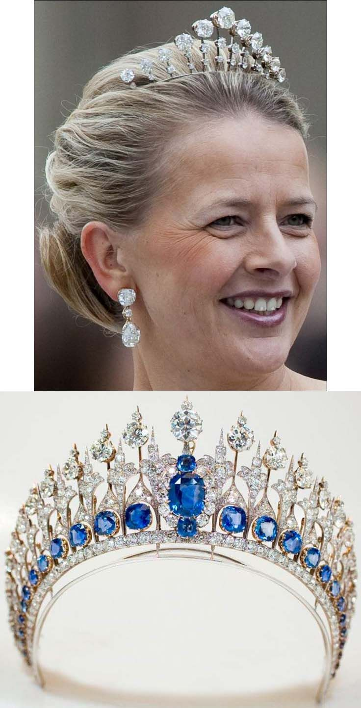 Diamond Prongs Tiara. This tiara was created by Mellerio in 1888.  It originally contained white and brown diamonds but the brown diamonds were later replaced with white diamonds taken from the Sapphire Parure Tiara (below). Princess Mabel of Orange-Nassau, wife of Prince Friso (above). http://tiara-mania.blogspot.jp/2012/02/sapphire-parure-tiara.html