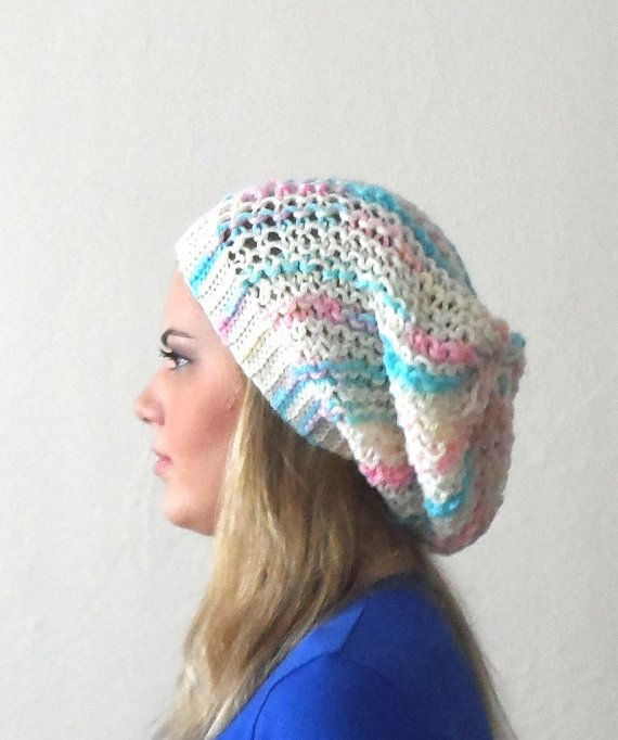 multicolor hat cap circle white yellow pink blue by DamlaScarf