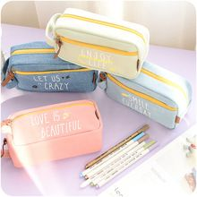 2017 Large Capacity Canvas My Life Cute School Pencil Case For Girls Children Pen Bag Pouch Students Pencilcase School Supplies(China (Mainland))