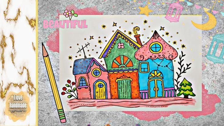 Draw Colorful Row Houses كيف ترسم منازل كيوت بألوان رائعة سهلة جدا Handmade Beautiful Notebook