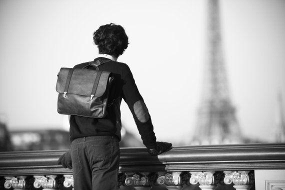Satchel bag for men men's black leather bag student by EMILISTUDIO, $488.00