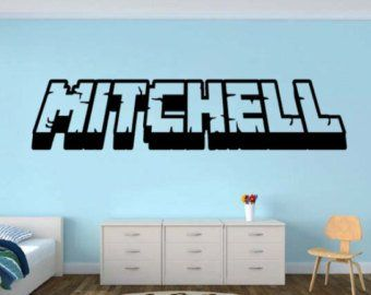 Personalized Gamer Name wall decal – 3d looking Gamer Room Wall Vinyl Decal Sticker Pixel Party Miner Decor