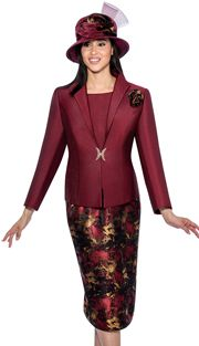 GMI 6533-BOR ( 2pc Silk Look With Flower Brooch And Rhinestone Closure With Solid Cami And Jacquard Skirt Church Suit For Ladies ),Affordable GMI Fall And Holiday Church Suits 2017