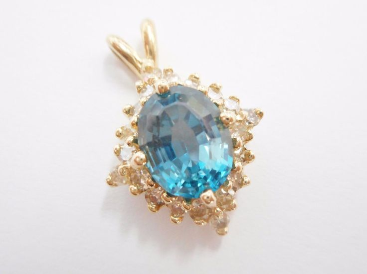 SALE 14k Yellow Gold Oval London Blue Topaz & Diamond Accent Pendant #1379