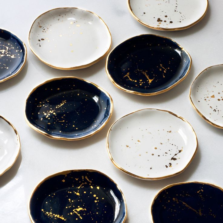 Ring Dish in Navy with Gold Splatters and Gold Rim – Suite One Studio