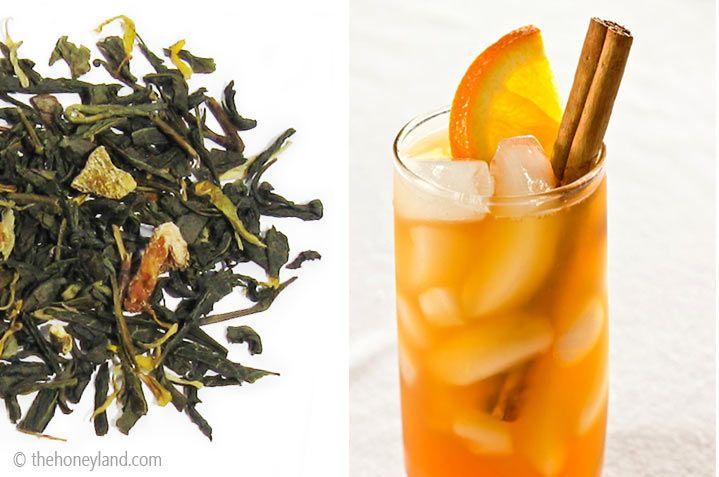 Tè freddo fatto in casa - Tè verde con pezzi di ananas, mandarino e cannella