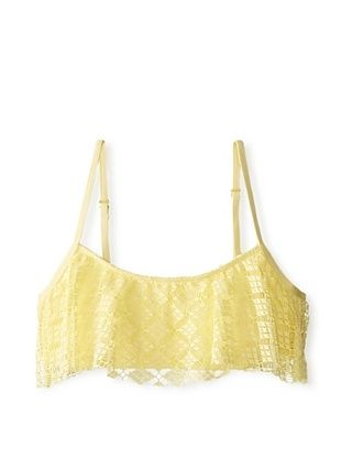 57% OFF Splendid Women's Ginger Eyelet Removable Soft Cup Crop Top (Yellow)