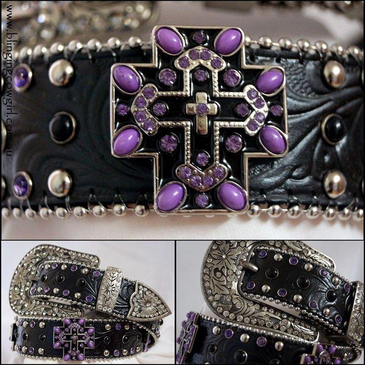 Ladies Black & Purple Embossed Black Genuine Leather Belt Cross Concho #Cowgirl