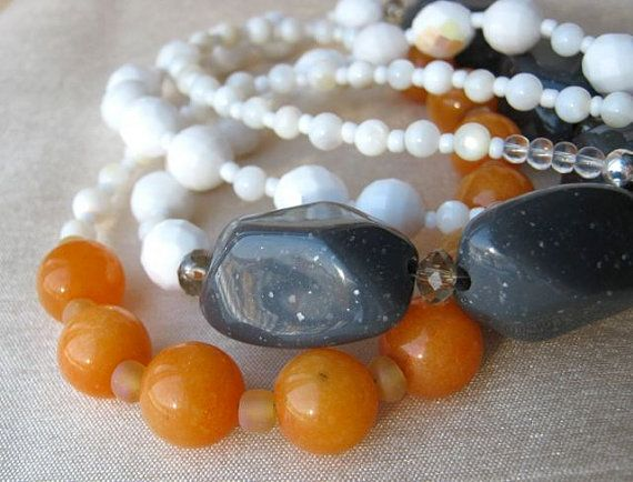 Orange sorbet, grey and white necklace and earrings set - ADJUSTABLE…