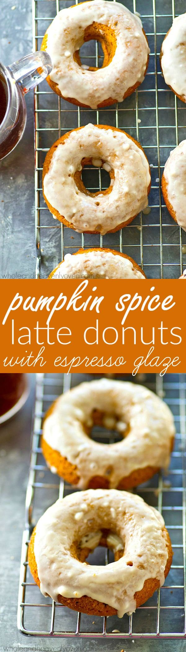 Get your pumpkin spice latte fix in donut form! These moist pumpkin donuts are unbelievably soft inside and covered with an amazing espresso glaze.--- best consumed with a pumpkin spice latte nearby!