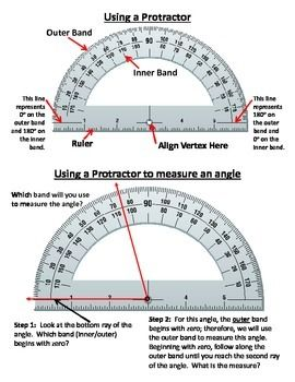 Only $1.  This product explains how to read and use a protractor to measure angles.  On the back there are practice problems.  Perfect product for protractor introduction and quick practice.  No prep, just print!  Page 1 of the document (front) reviews the important parts of a protractor and how to use it to measure an angle.   Page 2 of the document (back) provides the students with 8 practice problems for using the protractor to measure angles.