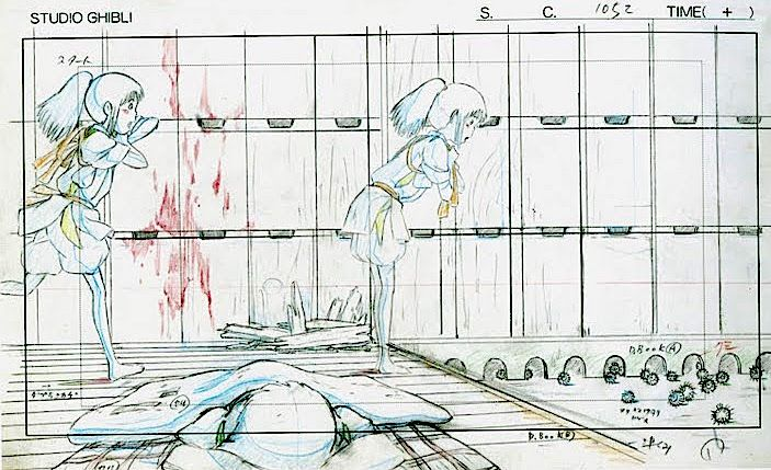 "Should be ""I need my SHOES, please,"" shouldn't it? -- Film: Spirited Away (千と千尋の神隠し) ===== Layout Design - Scene: I Need My Clothes Please ===== Hayao Miyazaki"
