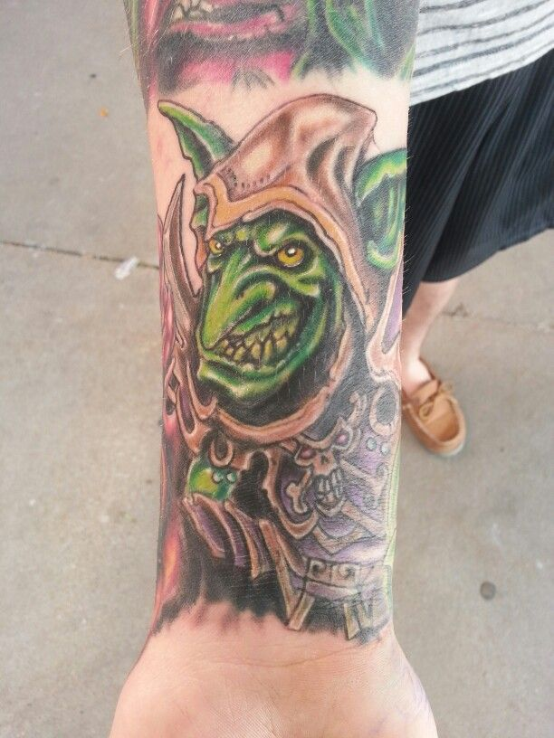 World of warcraft goblin tattoo by jeremiah klein at iron for Iron lotus tattoo