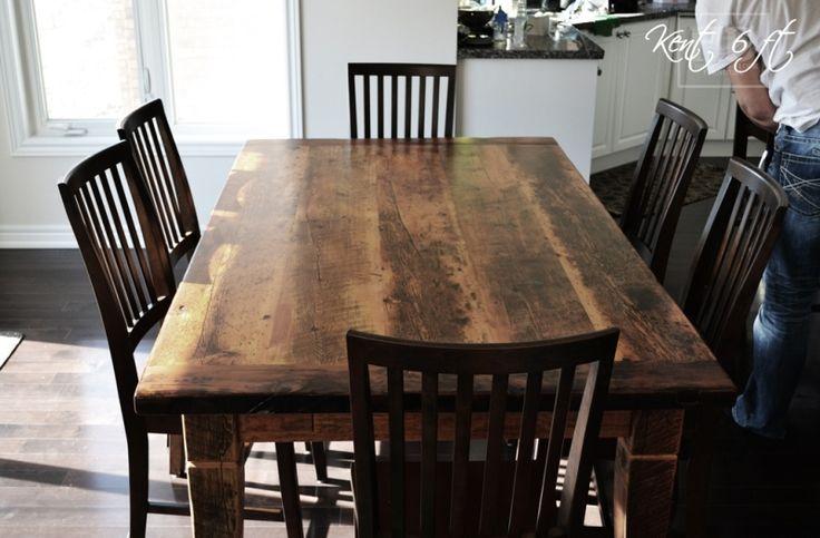 Reclaimed Wood Harvest Table with epoxy/polyurethane finish Ontario  Barnwood Cambridge,ON by HD Threshing Floor Furniture www.hdthreshing   Pinterest ...