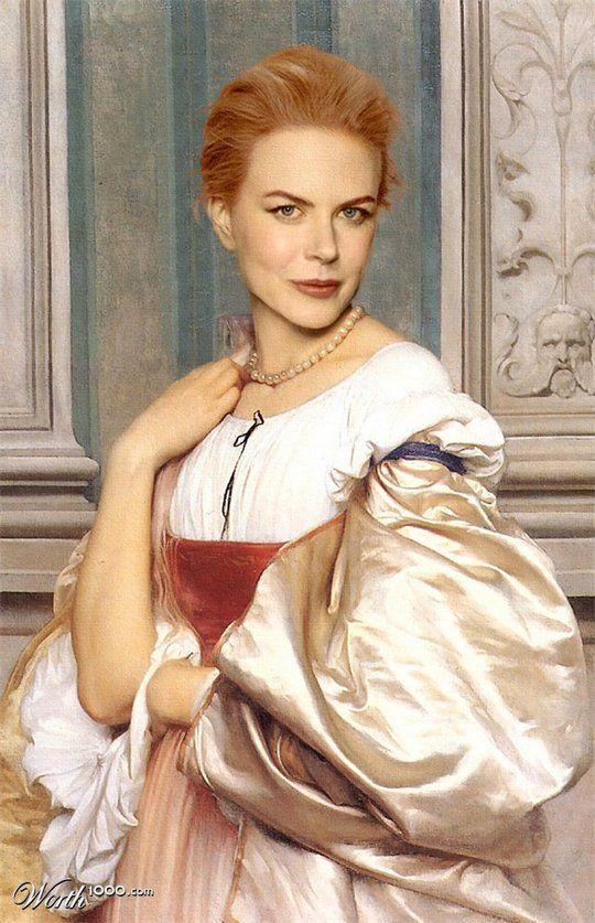 "Nicole Kidman by Steve Payne; fun & often beautiful portraits of celebs in various ""masterpiece"" styles   www.beautifullife.info"