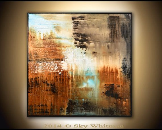 Original Abstract Framed Painting Large Modern Textured