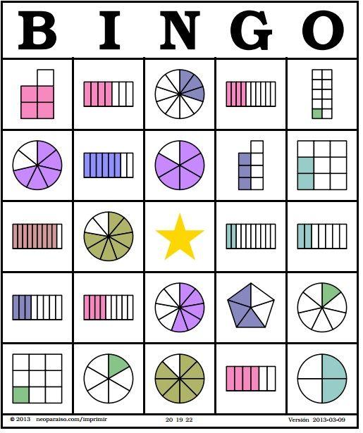 Matemáticas - Bingo de Fracciones - Sexto Grado de Primaria