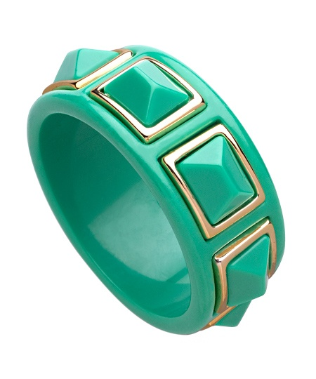 Kenneth Jay Lane Green Gold Trimmed Pyramid Bangle