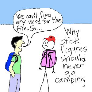 Stick figure camping joke