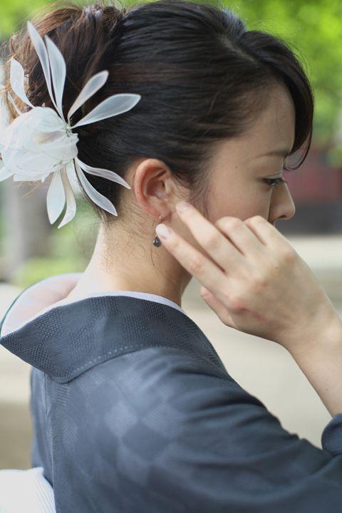 簪(かんざし)作家 榮 -sakae- 月下美人 from 野庵(http://www.a-yarn.com/)  (Japanese hair accessory -Kanzashi- by Sakae, Japan http://sakaefly.exblog.jp/)