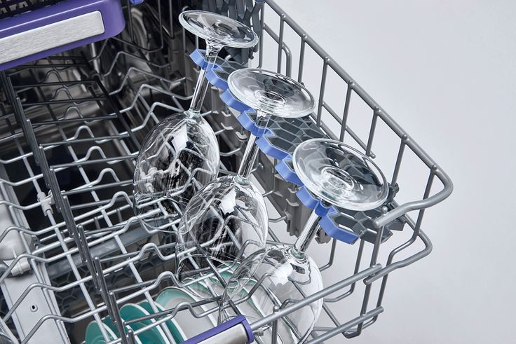 DISHWASHER TIP! Load your wine glasses in the specifically designed wine glass basket for safety, and use the folding racks to support the wine glass stems or hold smaller coffee cups!
