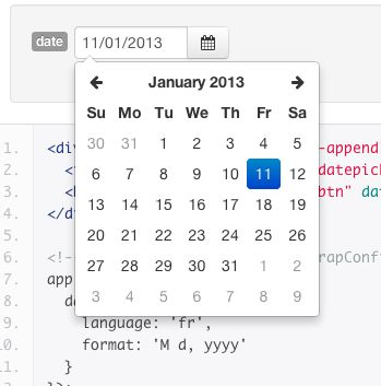 Date picker AngularStrap  http://mgcrea.github.io/angular-strap/#/datepicker