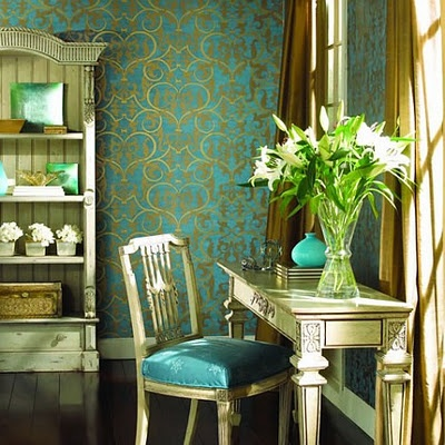 bold wallpaper.. I adore turquoise  and gold