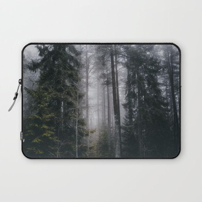 Into the forest we go Laptop Sleeve by HappyMelvin. #nature #forest #wanderlust #mystic #fog #laptopsleeve #laptop