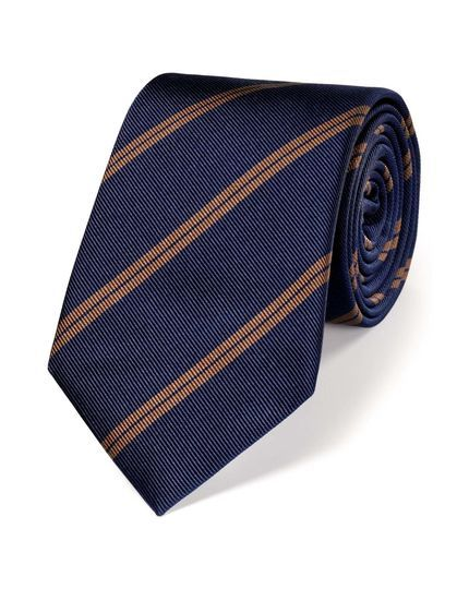 Navy and brown silk classic double stripe tie