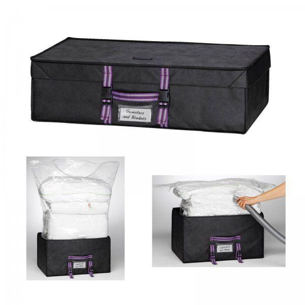 """Large Closet Compactor Vacuum Storage Bags (Black) (7.5""""H x 19.5""""W x 28.5""""D)"""