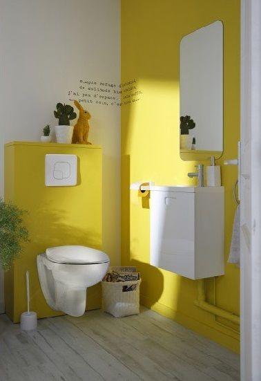 Du jaune solaire pour la déco des toilettes