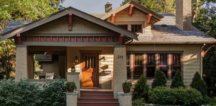Craftsman | Arts & Crafts | Bungalow...Love the Dormer window, but skip the 2-story, the dormer fakes it, and the wrap-around porch, tall windows on front!