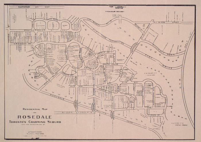 Residential map of Rosedale Toronto's charming suburb. : Toronto Public Library
