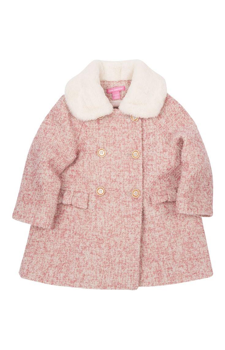 Primark - Manteau bébé fille rose en tweed