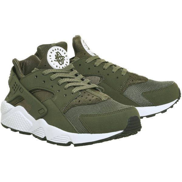 Nike Air Huarache Trainers Cargo Khaki White ($125) ❤ liked on Polyvore featuring shoes, sneakers, nike trainers, nike, white shoes, nike sneakers and khaki sneakers