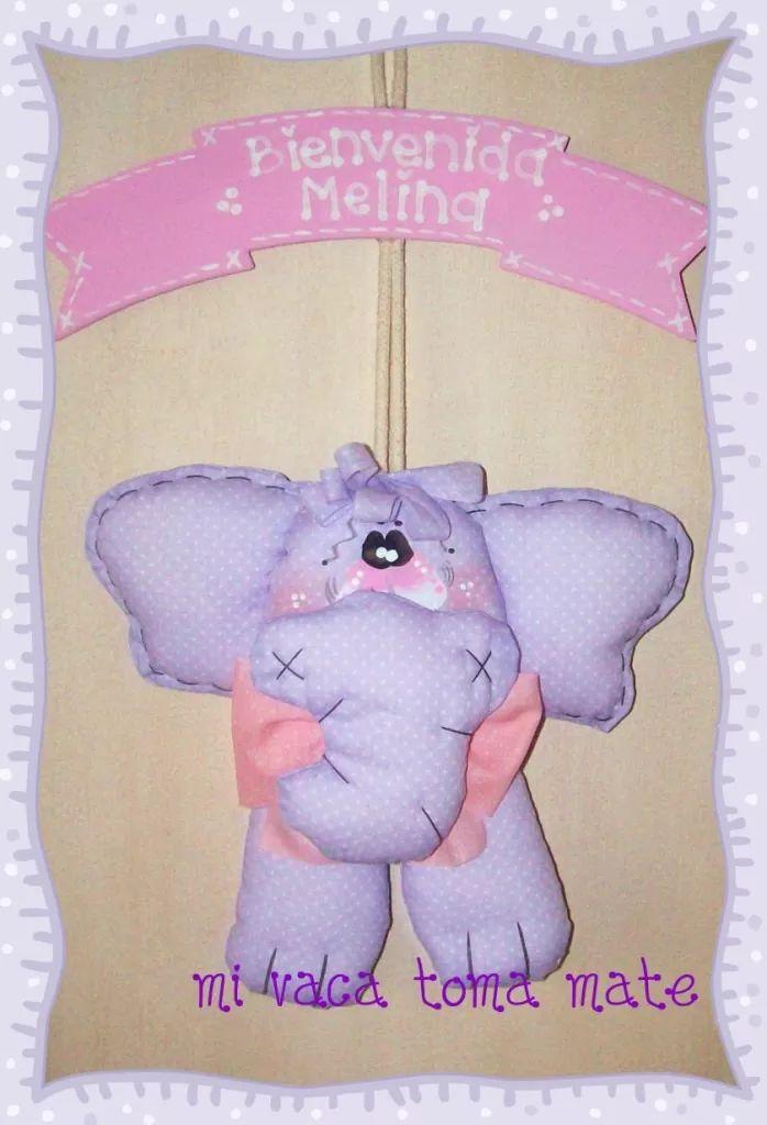 cartel de nacimiento con muñeco elefante bienvenido bebe
