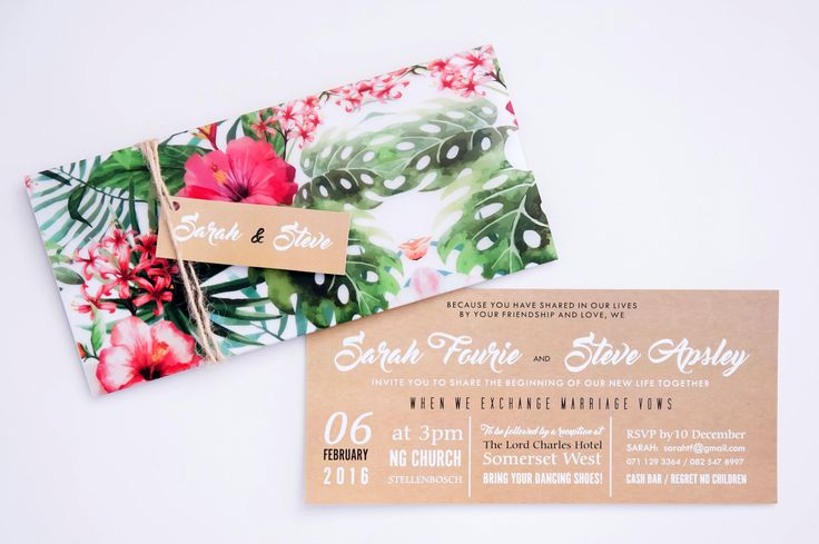 A tropical floral inspired invitation
