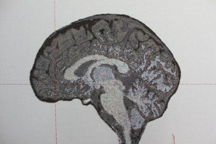 Lada Dedic Self Portrait; Artist's Brain (detail) Cross stitch on aida cloth…